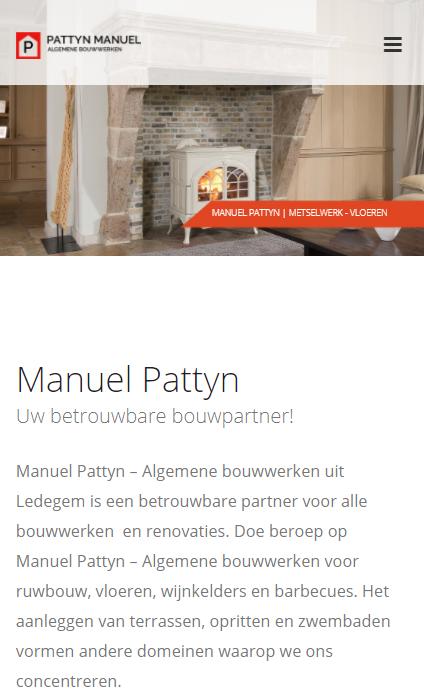 Algemene Bouwwerken Manuel Pattyn - website op smartphone